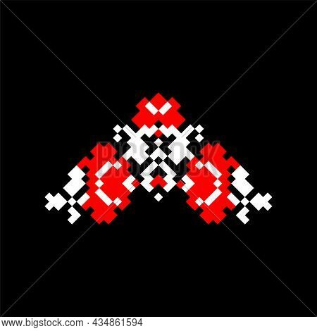 Vector Illustration Of Folk Ukrainian Symbol. Ukrainian National Ornament. Traditional White And Red