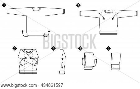Instruction How To Fold Sweatshirt. Compact Clothes Storage Vector Monochrome Black Line Illustratio
