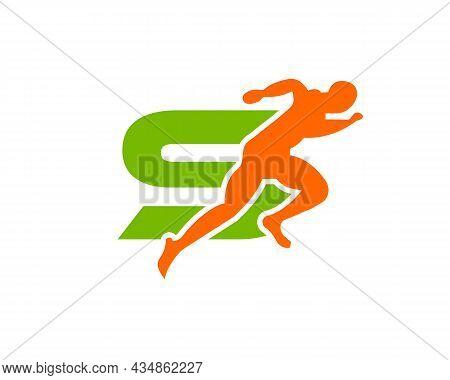 Sport Running Man Front View On Letter S Logo. Running Man Silhouette Logo Template For Marathon, Te