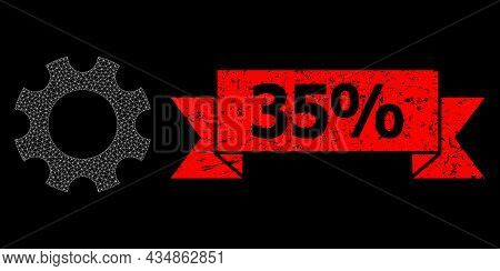 Mesh Polygonal Cogwheel On A Black Background, And 35 Percent Corroded Ribbon Stamp Seal. Red Stamp