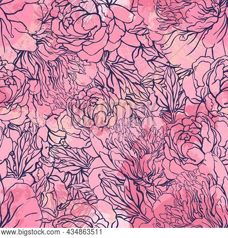 Cute Romantic Vector Background With Peonies. Enchanted Vintage Flowers. Hand Drawn Artistic Vector