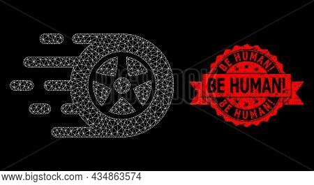 Mesh Polygonal Car Wheel On A Black Background, And Be Human Exclamation Unclean Ribbon Seal. Red St