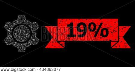 Mesh Network Gear On A Black Background, And 19 Percent Grunge Ribbon Seal. Red Seal Includes 19 Per