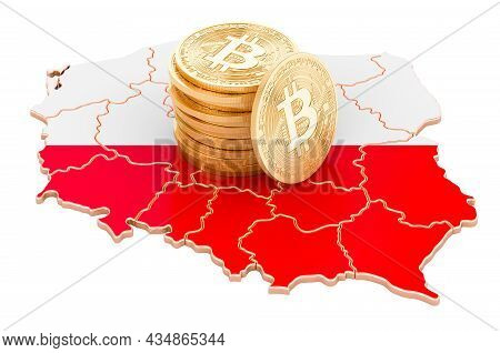 Bitcoin Cryptocurrency In Poland, 3d Rendering Isolated On White Background