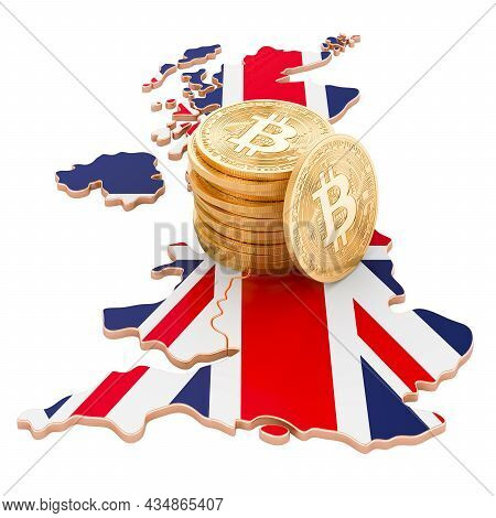 Bitcoin Cryptocurrency In The Great Britain, 3d Rendering Isolated On White Background
