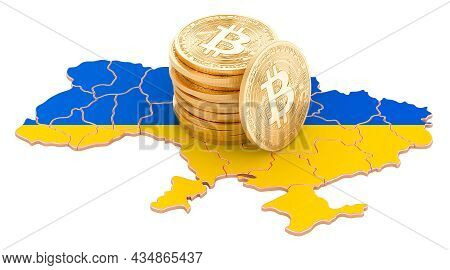 Bitcoin Cryptocurrency In Ukraine, 3d Rendering Isolated On White Background