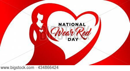 National Wear Red Day Vector Banner. American Heart Association Bring Attention To Heart Disease. Be