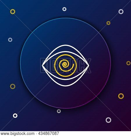 Line Hypnosis Icon Isolated On Blue Background. Human Eye With Spiral Hypnotic Iris. Colorful Outlin