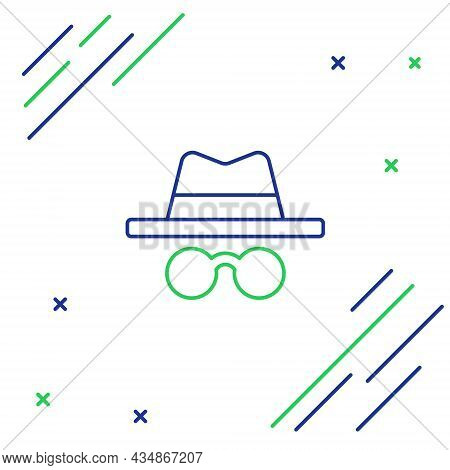 Line Incognito Mode Icon Isolated On White Background. Colorful Outline Concept. Vector