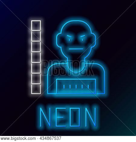 Glowing Neon Line Suspect Criminal Icon Isolated On Black Background. The Criminal In Prison, Suspec