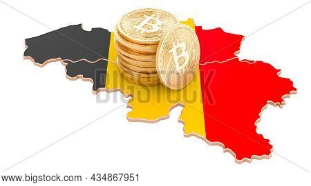 Bitcoin Cryptocurrency In Belgium, 3d Rendering Isolated On White Background
