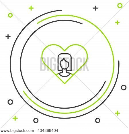Line Heart With Female Icon Isolated On White Background. Venus Symbol. The Symbol For A Female Orga