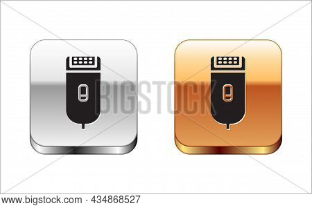 Black Electrical Hair Clipper Or Shaver Icon Isolated On White Background. Barbershop Symbol. Silver