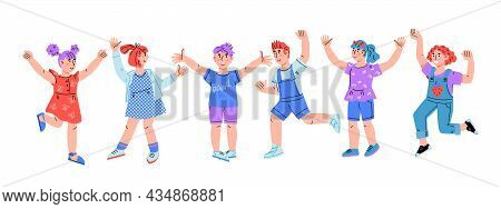 Happy Laughing Children Standing In Row, Flat Vector Illustration Isolated On White. Happy Kids Boys