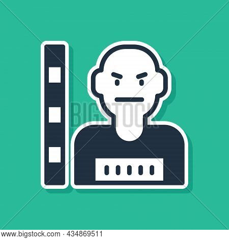 Blue Suspect Criminal Icon Isolated On Green Background. The Criminal In Prison, Suspected Near The