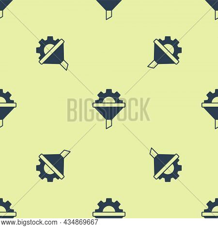 Blue Sales Funnel With Arrows For Marketing And Startup Business Icon Isolated Seamless Pattern On Y