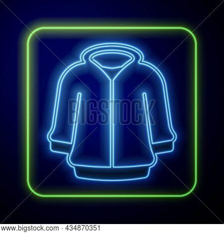 Glowing Neon Hoodie Icon Isolated On Blue Background. Hooded Sweatshirt. Vector