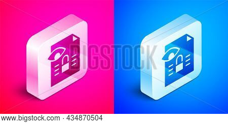 Isometric Journalistic Investigation Icon Isolated On Pink And Blue Background. Financial Crime, Tax