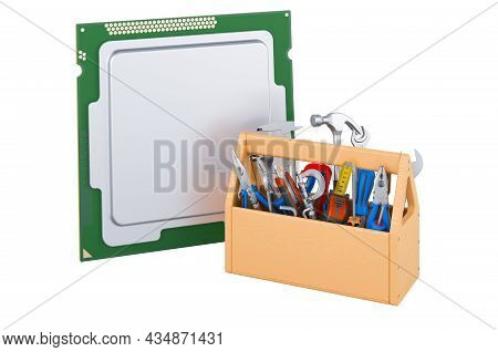 Cpu With Toolbox. Service And Repair Of Cpu, 3d Rendering Isolated On White Background
