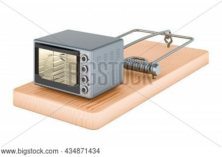 Convection Toaster Oven Inside Mousetrap, 3d Rendering Isolated On White Background