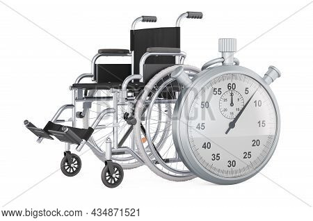 Stopwatch With Manual Wheelchair, 3d Rendering Isolated On White Background