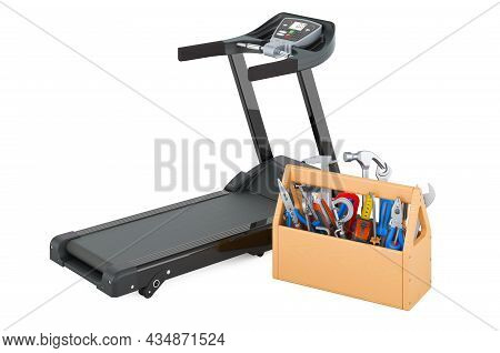 Treadmill With Toolbox. Service And Repair Of Treadmill, 3d Rendering Isolated On White Background