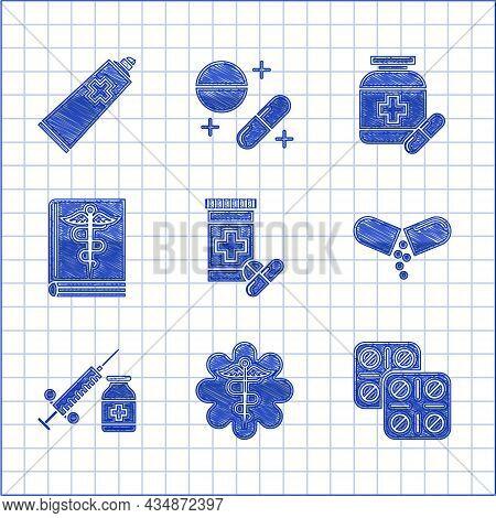 Set Medicine Bottle And Pills, Pills Blister Pack, Or Tablet, Medical Syringe Needle Vial Ampoule, B