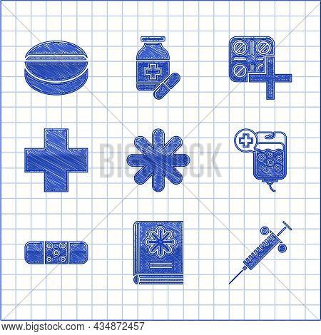 Set Cross Hospital Medical, Medical Book, Syringe, Iv Bag, Bandage Plaster, Pills Blister Pack And M