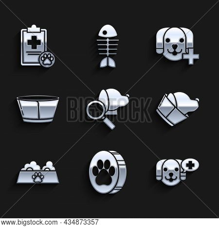 Set Veterinary Clinic Symbol, Paw Print, Pet Food Bowl For Cat Or Dog, Protective Cone Collar, And C