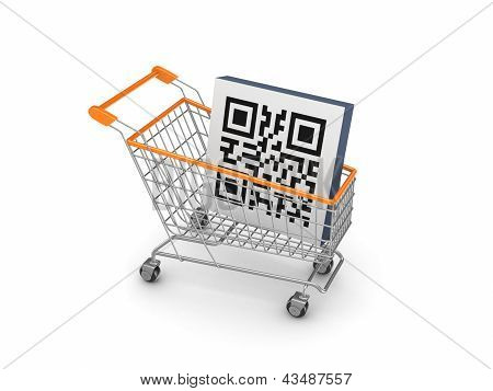 Symbol of QR code in a shopping trolley.