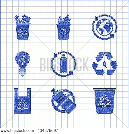 Set Recycling Plastic Bottle, No, Recycle Bin With Recycle Symbol, And Leaf, Plastic Bag, Light Bulb