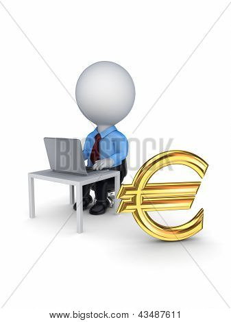 3d small person and sign of euro.