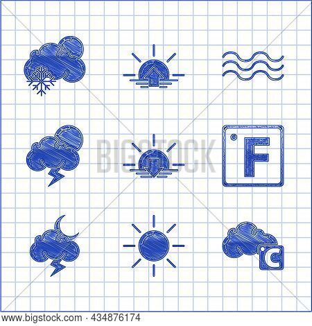 Set Sunset, Celsius And Cloud, Fahrenheit, Storm, Waves And Cloud With Snow Sun Icon. Vector