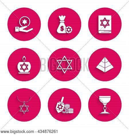Set Star Of David, Hanukkah Dreidel And Coin, Jewish Goblet, Egypt Pyramids, Necklace On Chain, Burn