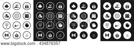 Set Shopping Bag With Star Of David, Jewish Coin, Egypt Pyramids, Tombstone, Hand, Pomegranate And H