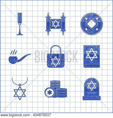 Set Shopping Bag With Star Of David, Jewish Coin, Tombstone, Torah Book, Star David Necklace Chain,