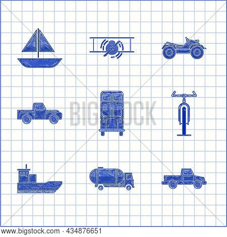 Set Double Decker Bus, Tanker Truck, Pickup, Bicycle, Cargo Ship, All Terrain Vehicle Or Atv Motorcy