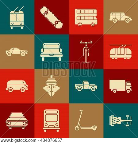 Set Formula Race Car, Delivery Cargo Truck Vehicle, Tram And Railway, Double Decker Bus, Pickup, Sed