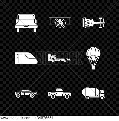 Set Pickup Truck, Old Retro Vintage Plane, Formula Race Car, Sedan, Tanker, Train And Icon. Vector