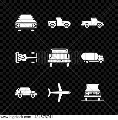 Set Car, Pickup Truck, Hatchback Car, Plane, Formula Race And Icon. Vector