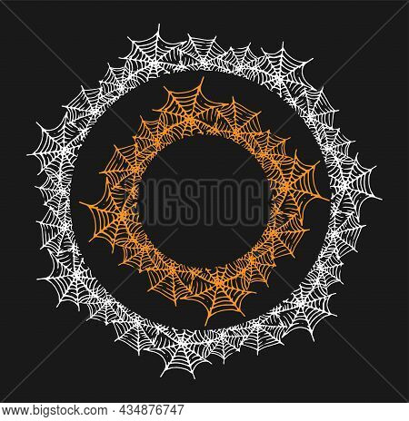 A Round Frame Made Of Cobwebs With An Empty Space For Text.a Set Of Black And Orange Spider Web Patt