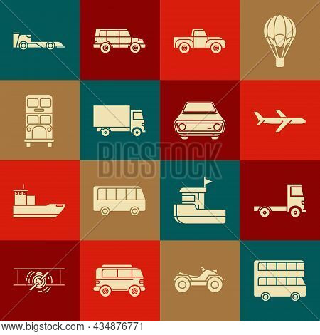 Set Double Decker Bus, Delivery Cargo Truck Vehicle, Plane, Pickup, Formula Race And Car Icon. Vecto