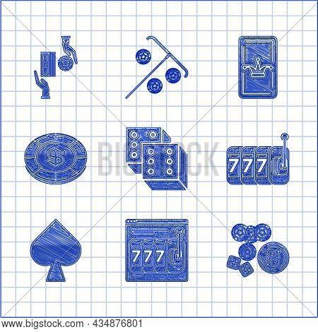 Set Game Dice, Casino Chips, Game And Glass Of Whiskey Cubes, Slot, Playing Card Spades Symbol, Doll