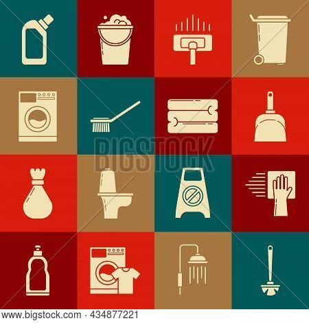 Set Toilet Brush, Cleaning Service, Dustpan, Vacuum Cleaner, Washer, Plastic Bottles For Liquid Dish