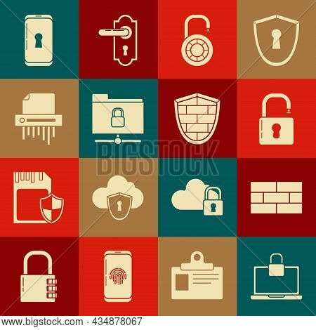 Set Laptop And Lock, Bricks, Open Padlock, Safe Combination Wheel, Ftp Folder, Paper Shredder Confid