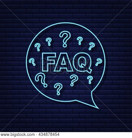 Frequently Asked Questions Faq Banner. Neon Icon. Computer With Question Icons. Vector Illustration.