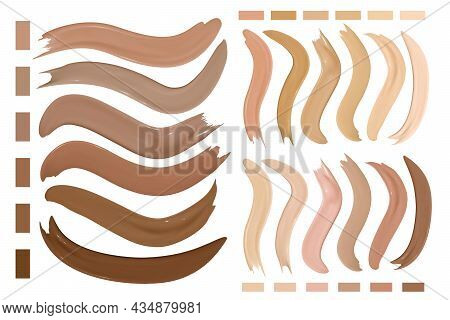 Beige Make Up Foundation Smudges. Cosmetic Concealer Texture. Paint Female Strokes. Skin Beauty Back