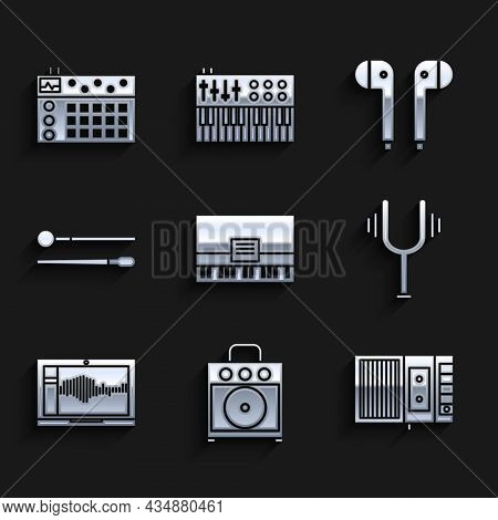 Set Piano, Guitar Amplifier, Music Tape Player, Musical Tuning Fork, Sound Audio Recorder On Laptop,
