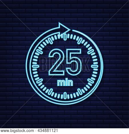 The 25 Minutes, Stopwatch Vector Neon Icon. Stopwatch Icon In Flat Style, Timer On On Color Backgrou