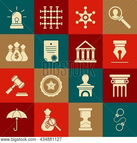 Set Handcuffs, Law Pillar, Fountain Pen Nib, Hexagram Sheriff, Certificate Template, Money Bag, Flas